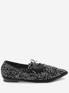 Pointed Toe Sequined Flats - Black 36