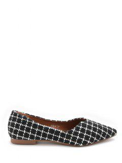 Pointed Toe Checked Pattern Flats - Black 36