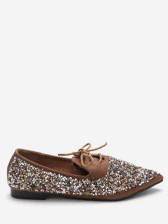 Pointed Toe Sequined Flats - Deep Brown 36