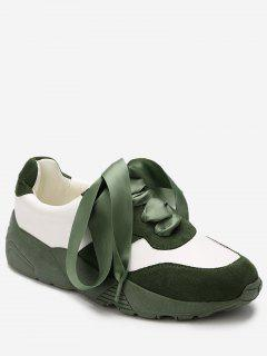 Faux Suede Color Block Sneakers - Green 36