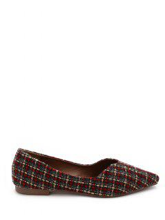 Pointed Toe Checked Pattern Flats - Red 36