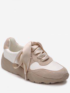 Faux Suede Color Block Sneakers - Apricot 36