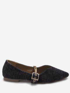 Chain Strap Pointed Toe Flats - Black 36