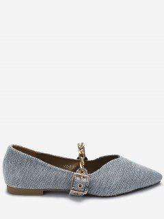 Chain Strap Pointed Toe Flats - Gray 37