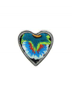 Embroidery Love Heart Shape Ring - Blue One-size