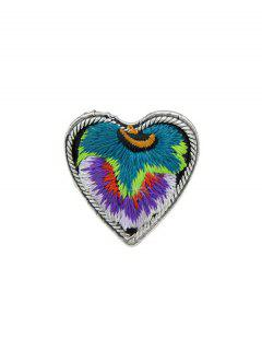 Embroidery Love Heart Shape Ring - Purple One-size
