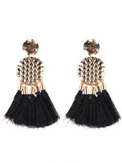 Bohemia Style Tassel Drop Earrings - Black