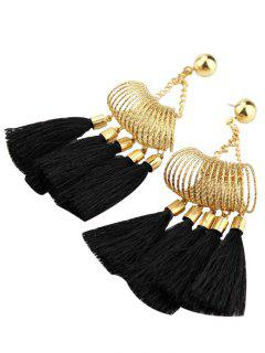 Boho Style Tassel Drop Earrings - Black