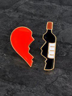Ensemble De Broches En Forme De Cœur Brisé Et Bouteille De Vin Pour La Saint-Valentin