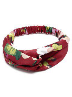 Flower Print Multi Use Elastic Hair Band - Wine Red