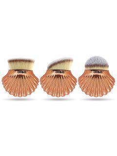 Conjunto De Cepillo De Fundación De Maquillaje De Pelo De Fibra De Forma De 3 Piezas De Shell - Gris
