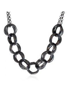 Collar Circundado Y Adornado De Los Círculos Del Metal - Negro