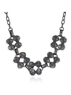 Metal Hollow Out Statement Pendant Necklace - Black