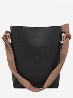 Contrasting Color PU Leather Shoulder Bag Set - Black Vertical