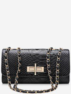 Chain Crocodile Print Shoulder Bag - Black