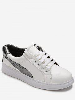 Low Top Two Tone Skate Shoes - Silver 38