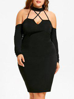 Plus Size Open Shoulder Strappy Mock Neck Dress - Black 2xl