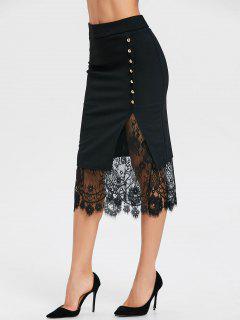 Oblique Button Midi Lace Slit Skirt - Black L
