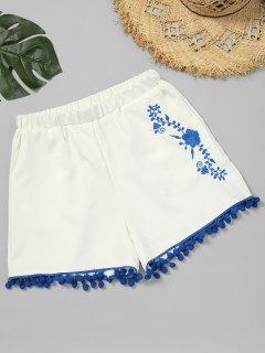 Floral Patched Pompoms Shorts - White L
