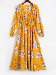 Plunging Neck High Waist Floral Dress - Yellow L