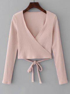 Knitted Ribbed Wrap Top - Pink S