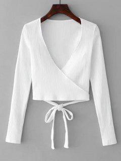 Knitted Ribbed Wrap Top - White M