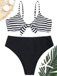 Conjunto De Bikini A Rayas De Talla Grande - Blanco Y Negro 3xl