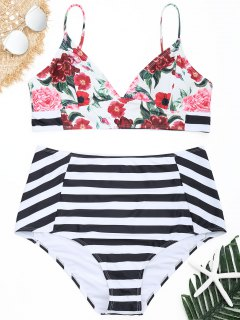Conjunto De Bikini De Talle Alto Con Rayas Florales Y Tallas Grandes - 4xl