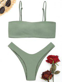 Hohe Schlitz Cami Bikini Set - Erbsengrün L