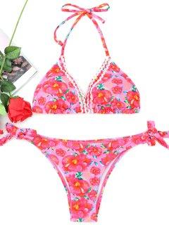 Gebundenes Florales Neckholder-Bikini-Set - Blumen S