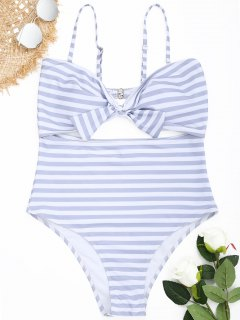 Cutout Striped Plus Size Swimsuit - Grey And White 4xl