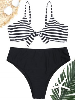 Plus Size Striped Bikini Set - White And Black Xl