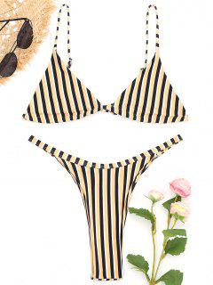 Bralette Striped Bikini Bra And Thong Bottoms - Yellow M