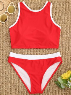 Contrast Piping High Neck Sporty Bikini - Red M