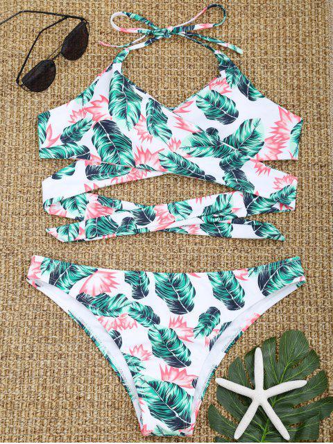 unique Halter Leaf Print Wrap Bikini Swimwear - GREEN S Mobile