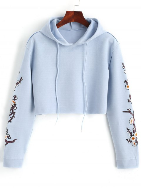 affordable Cropped Floral Applique Suede Hoodie - WINDSOR BLUE XL Mobile