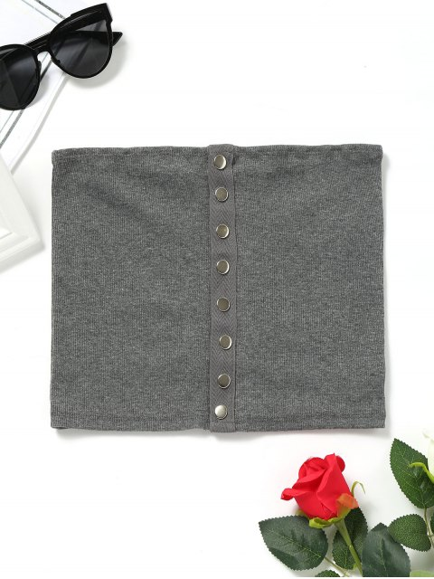 shops Knitted Snap Button Tube Top - DEEP GRAY M Mobile