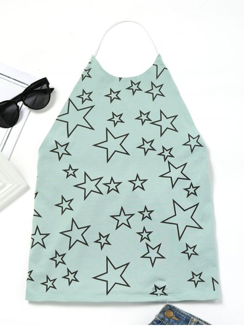 sale Open Back Star Tank Top - LIGHT GREEN ONE SIZE Mobile