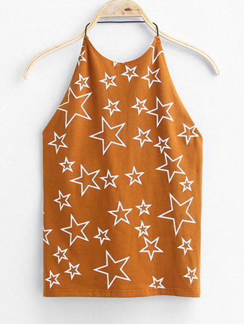 new Open Back Star Tank Top - LIGHT BROWN ONE SIZE Mobile