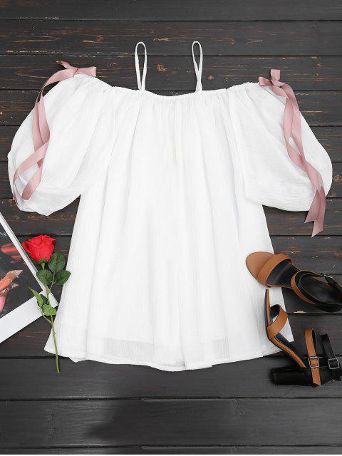 shops Cold Shoulder Bowknot Mini Cami Dress - WHITE L Mobile