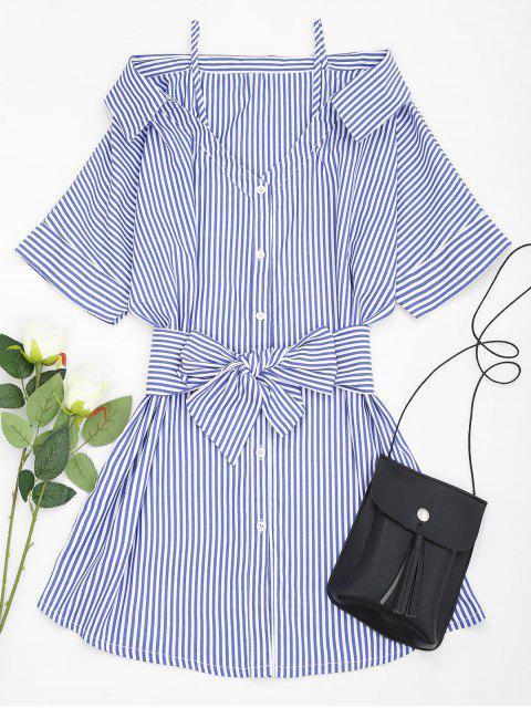 Schulterfreies Gestreiftes Gürtel Cami-Kleid - Blau L Mobile