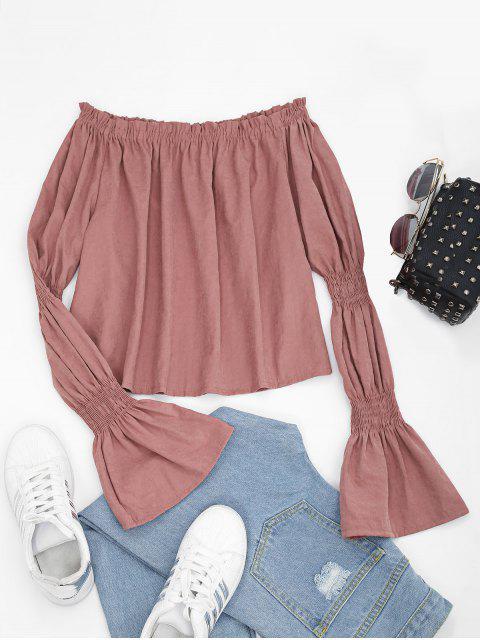 Blusa con mangas abullonadas y sin hombros - rosáceo Marrón L Mobile