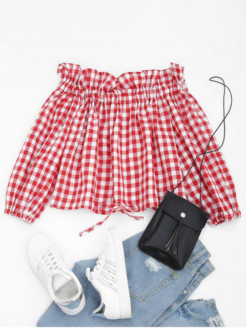 hot Off Shoulder Ruffles Crop Checked Blouse - RED ONE SIZE Mobile