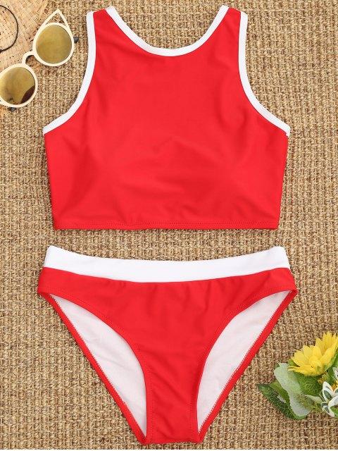 Bikini deportivo con cuello alto y ribete en contraste - Rojo S Mobile