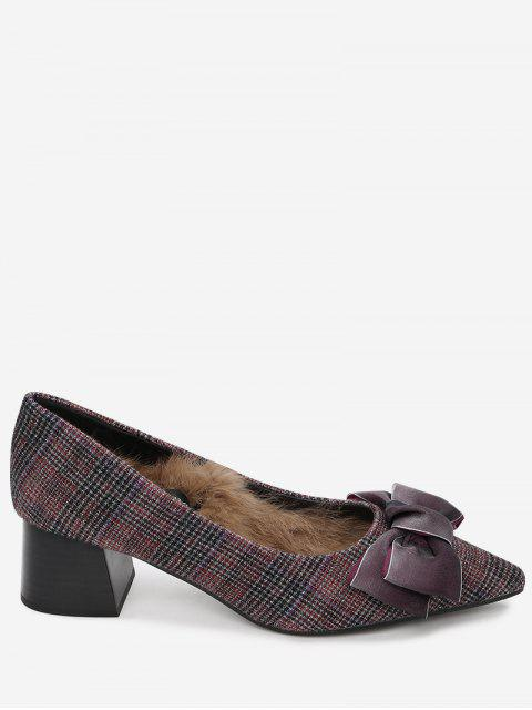 womens Pointed Toe Bowknot Plaid Pumps - WINE RED 39 Mobile
