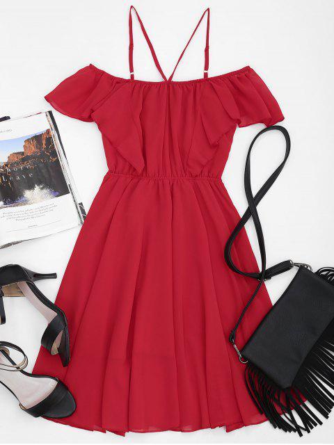 Kaltes Schulter Rüschen Cami Chiffon-Kleid - Rot XL Mobile
