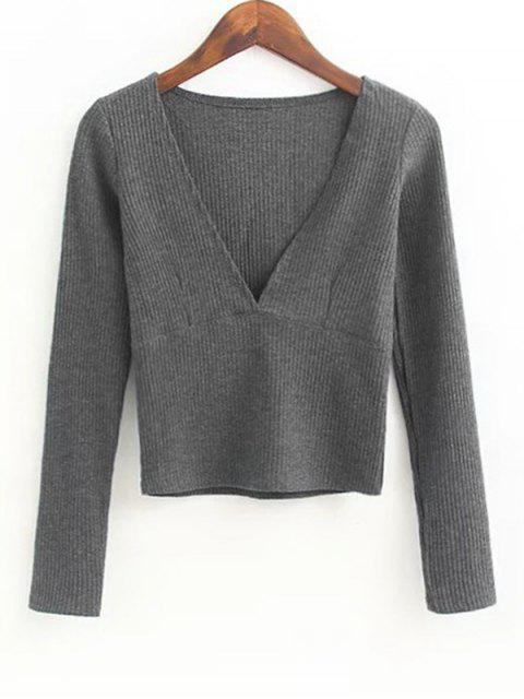 fashion V Neck Knitted Ribbed Top - DEEP GRAY M Mobile
