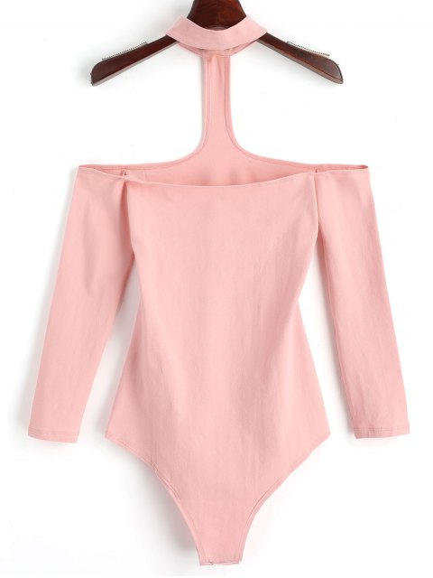 womens Snap Button Skinny Choker Bodysuit - PINK M Mobile