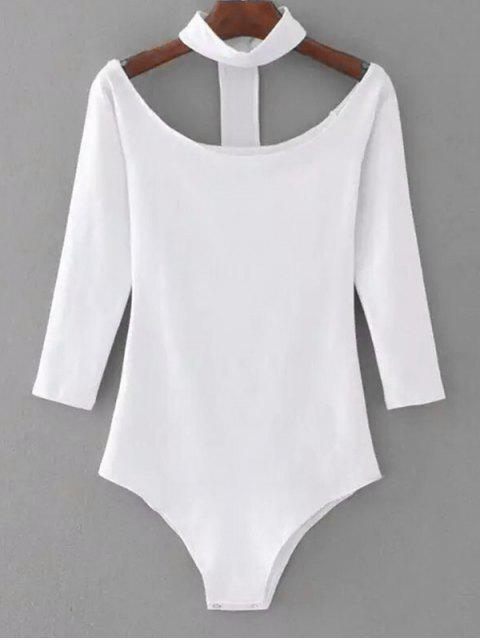outfits Snap Button Skinny Choker Bodysuit - WHITE M Mobile