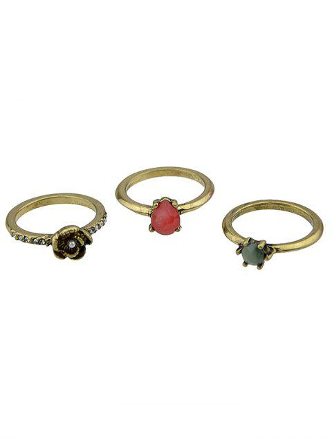 chic Faux Gem and Crystal Embellished Rings Set - GOLDEN ONE-SIZE Mobile